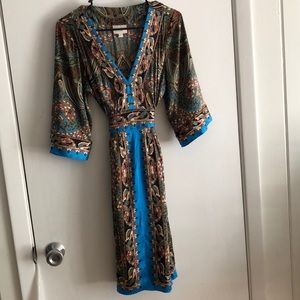 Eci blue and brown printed silk dress